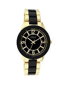 Kim Rogers Women's Gold-Tone and Black Enamel Watch
