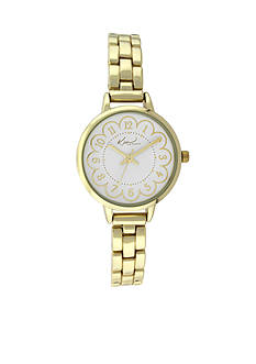 Kim Rogers Women's Gold-Tone Flower Dial Watch