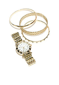 Kim Rogers Gold Watch & Multi Bracelet Set