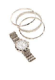 Kim Rogers Silver Watch & Multi Bracelet Set