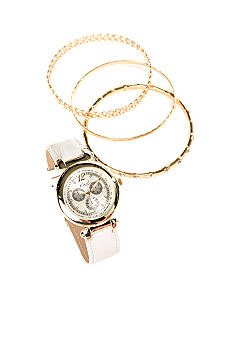 Kim Rogers White Strap Watch & Multi Bracelet Set