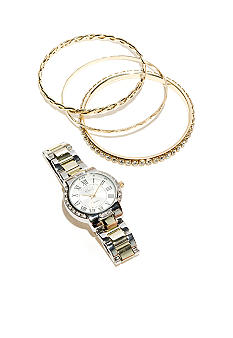 Kim Rogers Two Tone Watch & Multi Bracelet Set