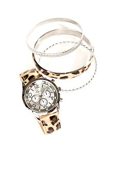 Kim Rogers Leopard Watch & Multi Bracelet Set