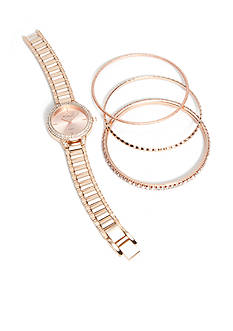 Kim Rogers Women's Rose Gold-Tone Bangle Watch Set