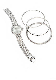 Kim Rogers Women's Silver-Tone Bangle Watch Set