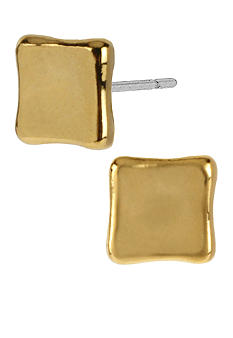Robert Lee Morris Small Gold Concave Square Stud Earrings