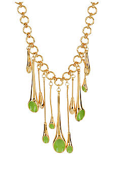 Robert Lee Morris Lime Green Geometric Fringe Necklace
