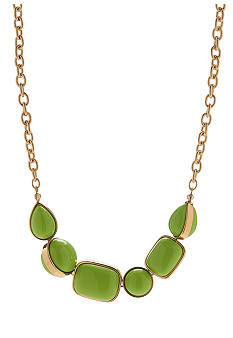 Robert Lee Morris Lime Green Geometric Bead Frontal Necklace