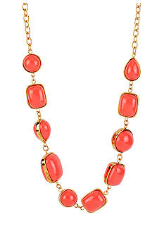 Robert Lee Morris Coral Geometric Bead Long Necklace