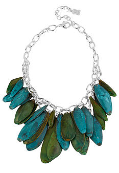 Robert Lee Morris Blue & Green Petal 2 Row Necklace