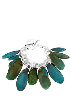 Robert Lee Morris Blue & Green Petal Toggle Bracelet
