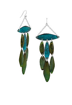 Robert Lee Morris Blue & Green Patina Petal Chandelier Earring