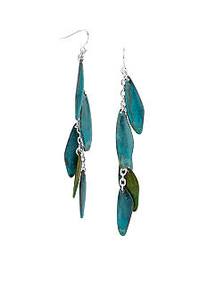 Robert Lee Morris Large Blue & Green Patina Petal Linear Earring