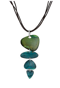 Robert Lee Morris Blue & Green Patina Petal Long Pendant Necklace