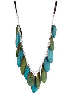 Robert Lee Morris Blue & Green Patina Petal Long Necklace