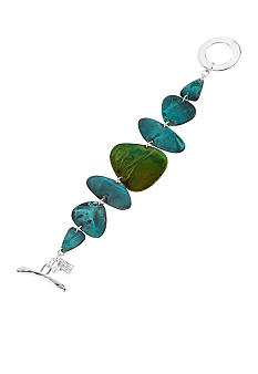 Robert Lee Morris Blue & Green Patina Petal Toggle Bracelet