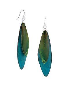 Robert Lee Morris Blue & Green Patina Petal Double Drop Earring