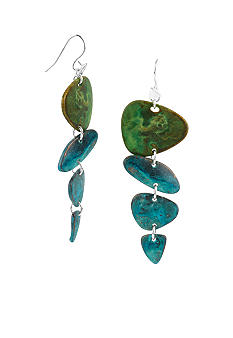 Robert Lee Morris Blue & Green Patina Petal Linear Earring