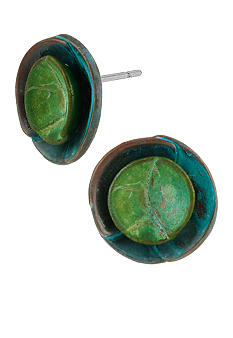 Robert Lee Morris Blue & Green Patina Layered Round Stud Earring