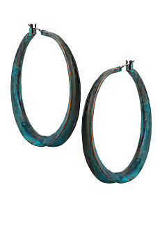 Robert Lee Morris Blue Patina Sculptural Hoop Earring