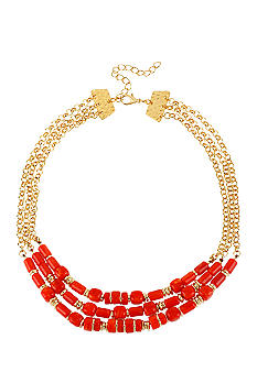 Robert Lee Morris Coral & Gold Bead Three Row Necklace
