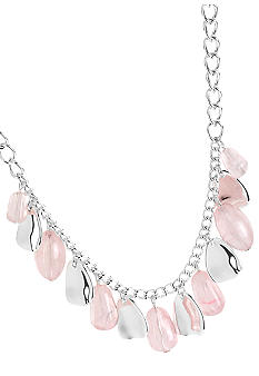 Robert Lee Morris Pink Bead & Silver Petal Frontal Necklace