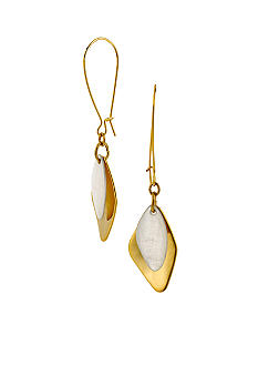 Robert Lee Morris Ivory Mother of Pearl & Gold Hammered Geometric Shell Double Drop Earring