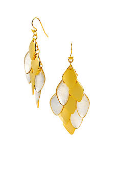 Robert Lee Morris Ivory Mother of Pearl & Gold Geometric Shell Chandelier Earring