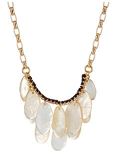 Robert Lee Morris Ivory Mother of Pearl Geometric Shell Frontal Necklace