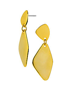 Robert Lee Morris Gold Hammered Geometric Double Drop Earring