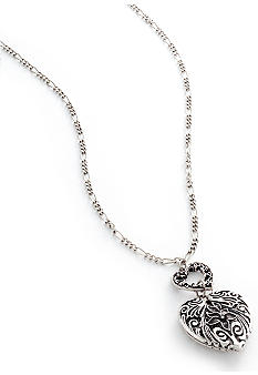 Antique Silver Heart Pendant Necklace