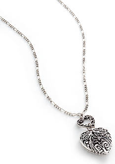 Nine West Vintage America Collection Antique Silver Heart Pendant Necklace