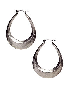 Nine West Vintage America Collection Antique Silver Oval Hoop Earring