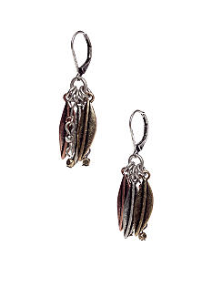 Nine West Vintage America Collection Antique Tri-Tone Leaf and Bead Earring