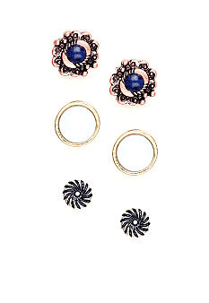 Nine West Vintage America Collection Three Pair Button Set Earrings