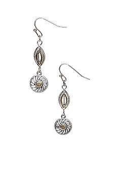 Nine West Vintage America Collection Antique Gold and Silver Linear Drop Earring