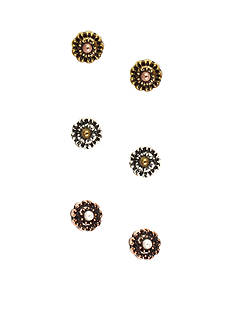 Nine West Vintage America Collection Flower Stud Trio Earring Set