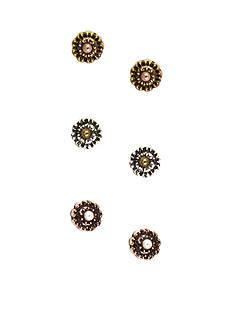 Nine West Vintage America Collection Flower Stud Trio Earring Set