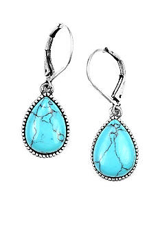 Nine West Vintage America Collection Turquoise and Antique Silver Lever Back Drop Earring