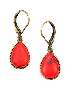 Nine West Vintage America Collection Coral and Gold Lever Back Earring