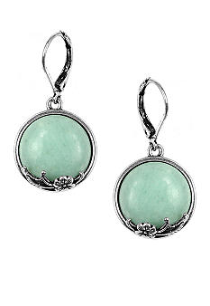 Nine West Vintage America Collection Antique Silver and Turquoise Drop Pierced Earring