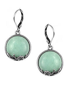 Nine West Vintage America Collection Antique Silver-Tone and Turquoise Drop Pierced Earring