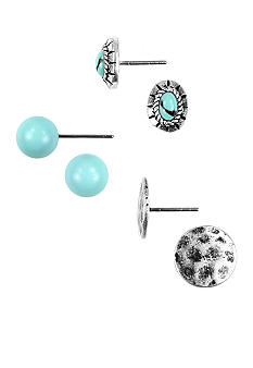 Nine West Vintage America Collection Antique Silver Tone and Turquoise Stud Earring Trio
