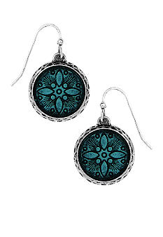 Nine West Vintage America Collection Etched Antique Silver Drop Earrings with Denim Blue Enamel