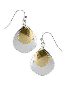 Nine West Vintage America Collection Antique Silver Tone and Gold Tone Double Drop Earring