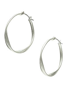 Nine West Vintage America Collection Oxidized Silver Twist Hoop with Click Top