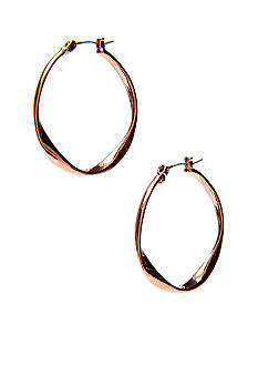 Nine West Vintage America Collection Twist Hoop in Brown Metal Plating