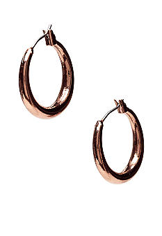Nine West Vintage America Collection Brown Tone Click Top Hoop Earrings