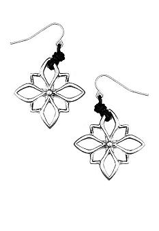 Oxidized Silver Open Flower Drop Earring