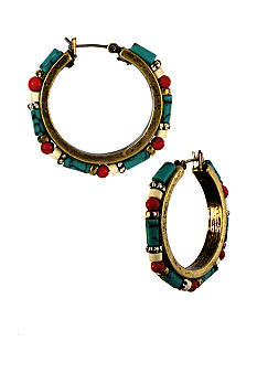 Nine West Vintage America Collection Pierced Beaded Clickit Hoop Earrings